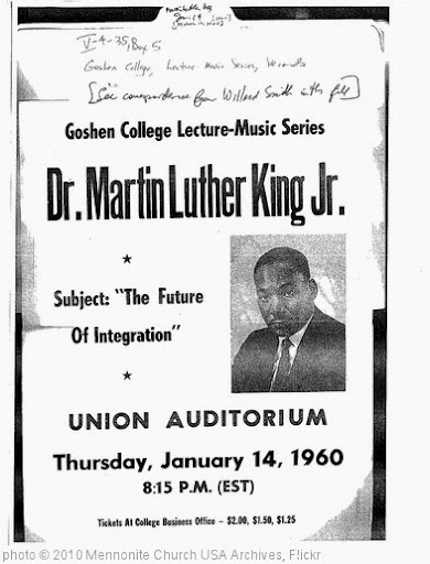 'Poster:  Martin Luther King Jr. at Goshen College, March 10, 1960' photo (c) 2010, Mennonite Church USA Archives - license: http://www.flickr.com/commons/usage/