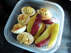 Hubbys takeout Avocado Devilled Eggs w Fruit