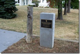 Post and marker where Traveler was tied in Berryville, VA