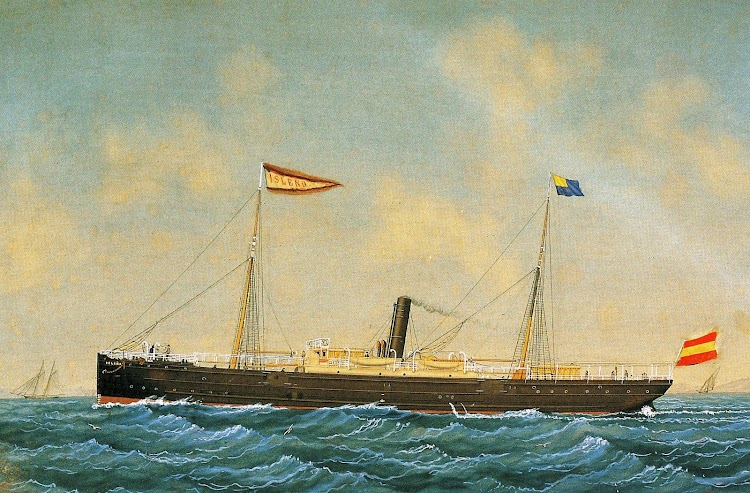 Acuarela de Josep Pineda, fechada en 1891, del vapor ISLEÑO. Foto del libro LOS GRANDES PUERTOS DE LAS BALEARES.jpg