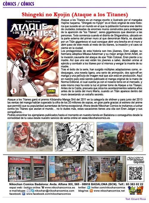 Espacio de Nikochan Comics en la revista FlashBCN