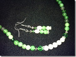 Green quartz, pearls, crystals
