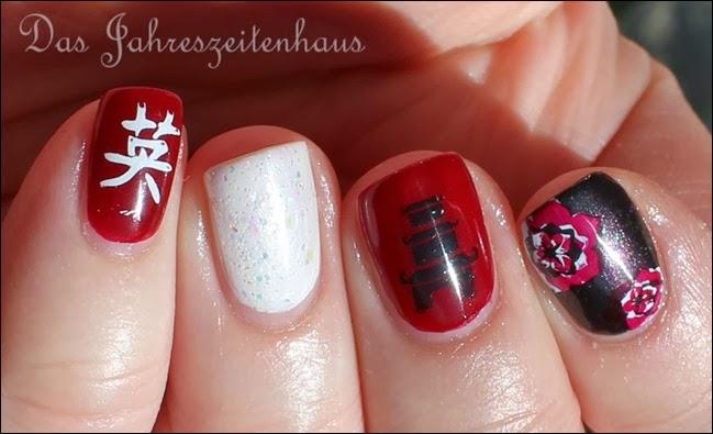 Nail Art Geisha Kirschblüte Japan Asien Design 4