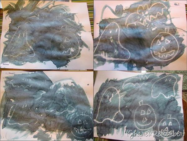 Preschool Halloween Water Color Resist Paintings