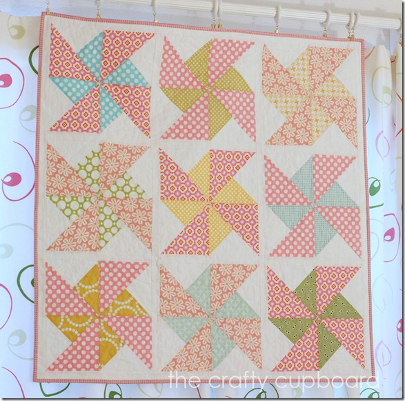 Pink Pinwheel Quilt by The Crafty Cupboard