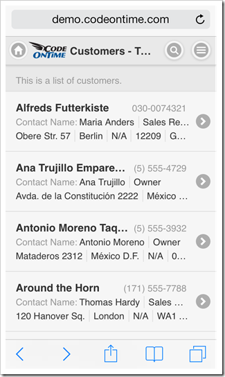 A list view in a mobile app created with Code On Time mobile app generator.
