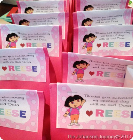 The Johanson Journey Dora Party Favor Bag tags
