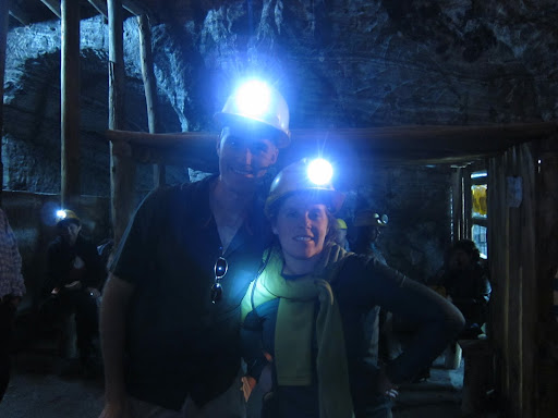 Erik and Heather with Miner's Hats, Salt Cathedral, Bogota, Colombia