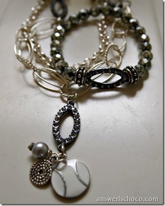 Silver Softball Necklace and Bracelet