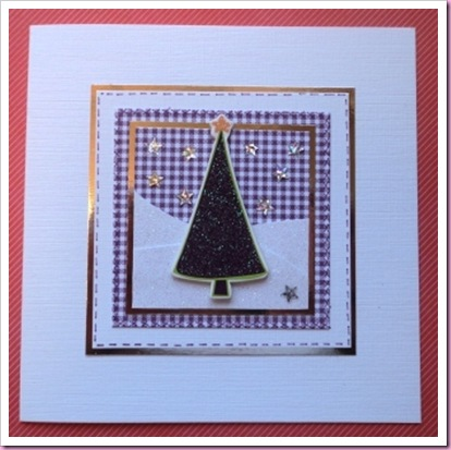 Purple Gingham Christmas Card