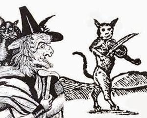 Strega e gatto che strimpella il violino nel Sabba (antica stampa, part)