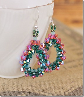mabeline gidez evangaline's beaded crystal loop earrings padparadscha emerald pacific opal