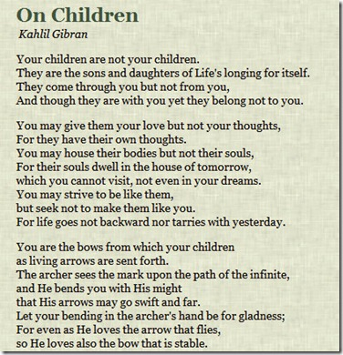 kahlil gibraN ON CHILDREN