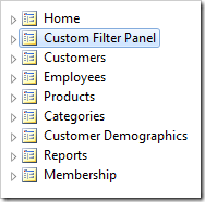 Page 'Custom Filter Panel' has been placed second in the menu.