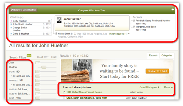 Ancestry.com utilizes information from your tree when you start your search from the tree.