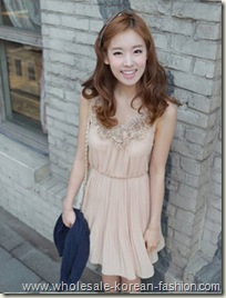 rose collar creased dress wholesalekoreanfashion