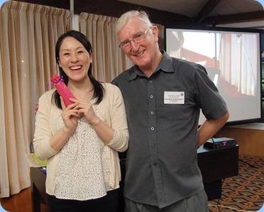 President, Gordon Sutherland, thanking Kuniko for her wonderful mini-concert. Photo courtesy of Dennis Lyons.