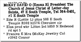 David O McKay in 1965 city directory of Salt Lake City, Utah