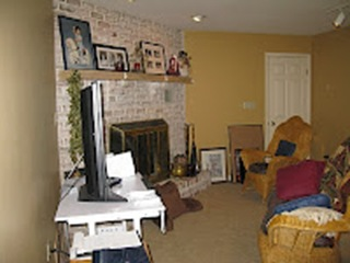 Asian family room and fireplace makeover before