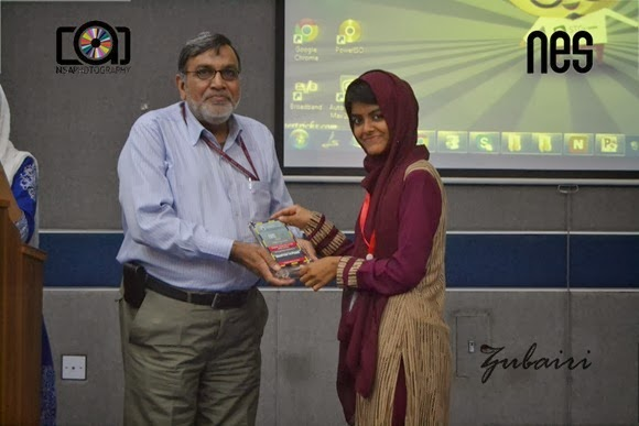 Kanza Batool Haider reciving shield