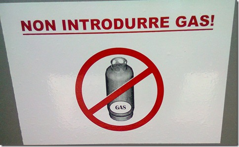 Non introdurre gas