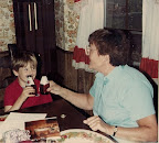 Enjoying a cold one with my grandmother as a wee lad