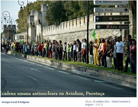 cadena umana antinucleara en Avinhon.