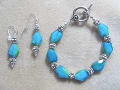 bracelet and earrings turq limegreen silver beads2