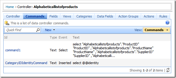 List of commands in the Project Browser.