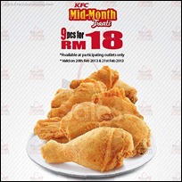 KFC Mid-Month Treats 9pcs for RM18 Promotion 2013 Branded Shopping Save Money EverydayOnSales
