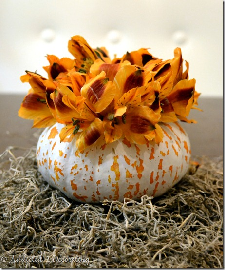 miniature pumpkin vase--painted pumpkin