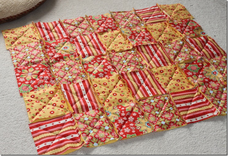 Rag Quilt Yellow and Red 001