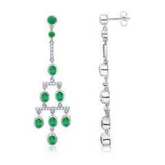 Oval Emerald and Diamond Chandelier Earrings