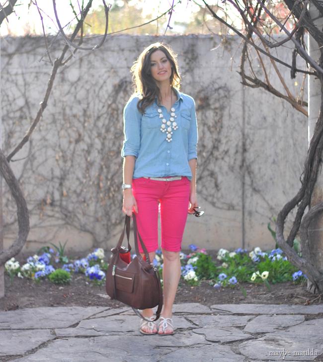 pink shorts + chambray + lily jade // www.maybematilda.com