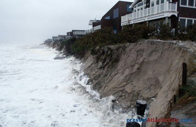 Beach erosion at Long Beach Island, New Jersey, 14 Nov 2009. pressofAtlanticCity.com