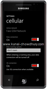 WP7 Settings Page - Cellular