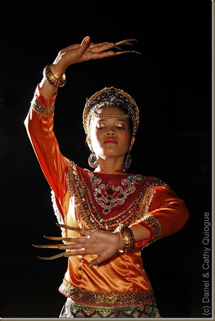 A dancer from Cotabato City performs a Maguindanao dance; note the similarities to Balinese, Khmer and Thai dances