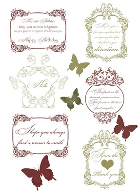 Vintage Shabby Flowers Elements Sheet - Sentiments