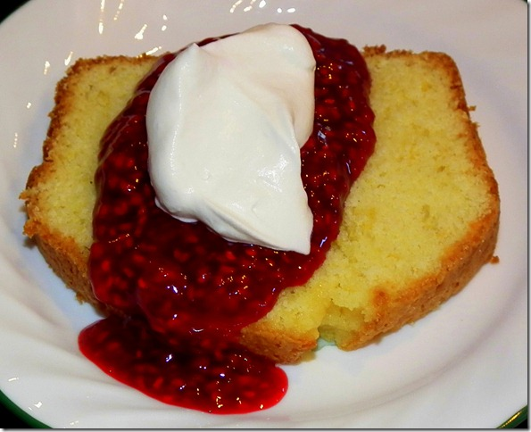 Lemon Loaf Cake with Raspberry Coulis