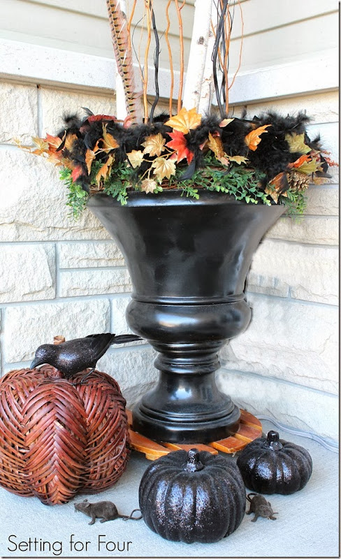 Decorated Fall Urn - Setting for Four