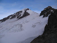 Coleman-Deming route up Mt Baker. You can just barely see our tent next to the rocks in the lower right.