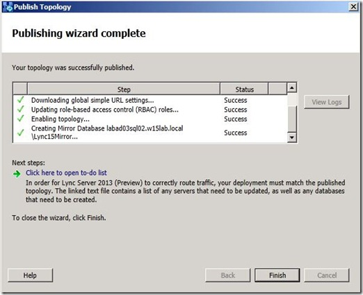 Lync 2013 - SQL Mir - publish - success