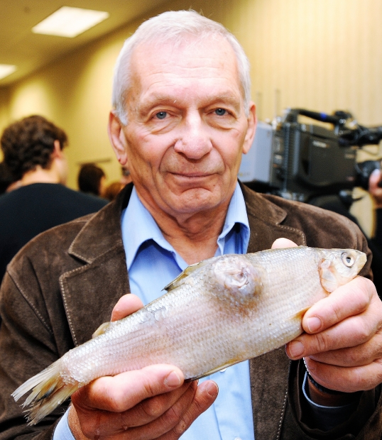 University of Alberta scientist David Schindler holding a deformed whitefish collected from the Athabasca watershed, downstream from the oilsands industrial development. Schindler told a Carleton University audience Friday that claims that Alberta's oilsands are environmentally harmless are 'lies' and won't convince anyone in Washington. Photo: Ed Kaiser / Edmonton Journal