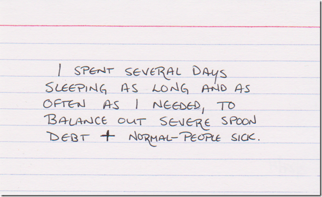 I spent several days sleeping as long and as often as I needed, to balance out severe spoon debt + normal-people sick.