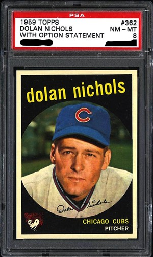 1959 Topps 362A dolan nichols with option statement front