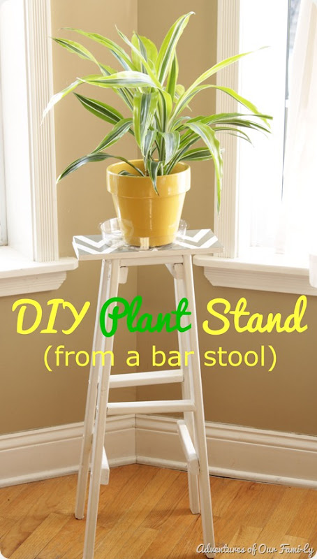 diy plant stand from bar stool
