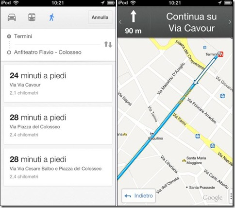 Google Maps per iPhone indicazioni stradali