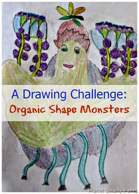 A drawing challenge for any age  making organic shape monsters