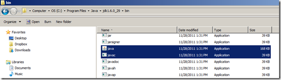 location of Javac and Java application