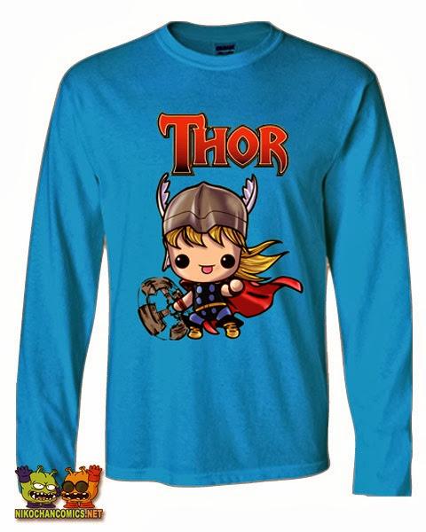 Camiseta divertida Marvel: Thor versión kawaii de Nikochan Comics Badalona